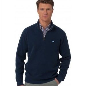 Southern Tide Navy Mock Neck Zip Up Sweater(Small)